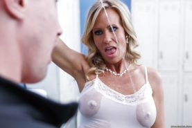 Attractive milf with big tits Simone Sonay flirts with nasty dick