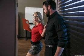 Blonde MILF taking deep ass fucking and cumshot in workplace