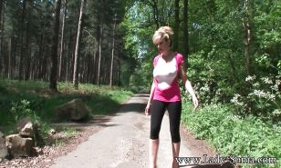 Undressing mature slut with big tits Lady Sonia caught outdoor