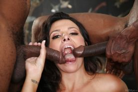 Interracial sex with brunette girl Danica Dillon and two black men