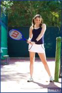 Sporty babe Tori Black stripping from skirt on the tennis court