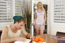 Cool teen with blond hair Vanessa Cage pleasing her lovely boyfriend