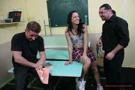 Submissive schoolgirl Barbie Pink gets bound, spanked and banged