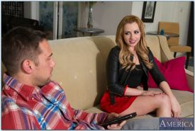 Slutty blonde Lexi Belle gives a sensual blowjob and gets screwed