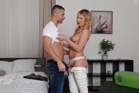 Blonde Euro hottie Lucy Heart on her knees for mouth watering blowjob