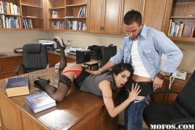 Cum hungry latina office slut Renae Cruz gets fucked and facialized