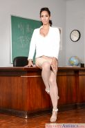 Mexican MILF teacher Isis Love exposing big boobs in stockings and heels