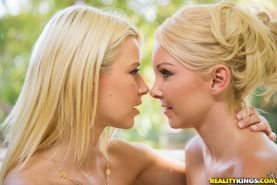 Blonde babes Annika Albrite and Aaliyah Love have a wild lesbian sex