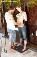 Teen first timer Katie Lewis taking cumshot in mouth outdoors