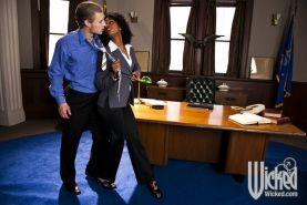 Ebony pornstar Misty Stone gives a blowjob and gets fucked in the office