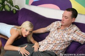 Blond hottie Bree Olson bouncing on a giant cock and eating cum