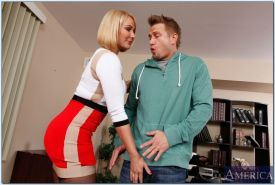 Busty teacher Mellanie Monroe gives a blowjob and gets fucked by student