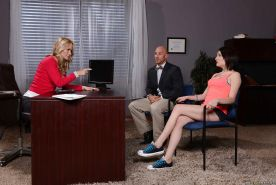 Threesome with hot milfs Chase Ryder and Simone Sonay in the office