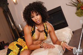 Ebony hottie Misty Stone getting nude and spreading her sexy legs