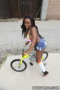 Black goddess Jada Fire exposing big ass and boobs after a bike ride