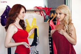 Lesbian MILFs Alix Lynx and Kendra James undressing to their panties