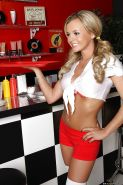 Sexy waitress in tight shorts and stockings Bree Olson fucked at work