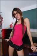 Filthy latina coed Veronica Rodriguez stripping in the classroom