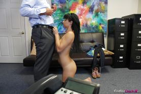 Amateur Mandy Sky gives head and gets cum from her interviewer