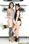 Cosplay cuties Taylor Reed and Lucia Lace modelling topless in high heels