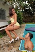 Steamy latina lassie gets fucked and jizzed over her eager face outdoor