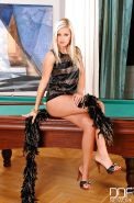 Hot Euro blonde Bridget exhibiting pink pussy on top of pool table