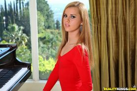 Sweet blonde babe in red dress Jessie Rogers exposing her petite ass