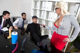 Blonde secretary Christina Shine seducing sex from large dick at work