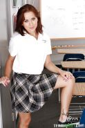 Sweet schoolgirl Mae Meyers stripping and exposing her tattooed feet