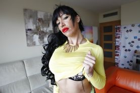 Buxom brunette model Suhaila Hard exposing big knockers and pierced nipples
