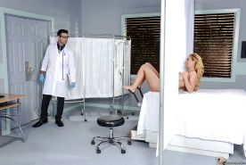 Blonde MILF Cherie Deville having shaved pussy examined by kinky doctor