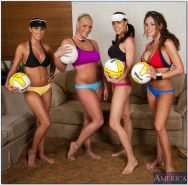 Lesbian volleyball team stripping and showing off tight butts and tits