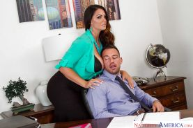 Buxom Latina secretary Alison Tyler giving blowjob to co-worker