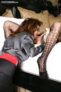Stockings model Deauxma has her mature pussy fucked in a groupsex