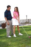 Hot pornstar Michelle Lay enjoys hot fucking after a golf lesson