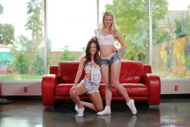 Cute lesbians Jade Nile and Alli Rae stripping off shorts and panties