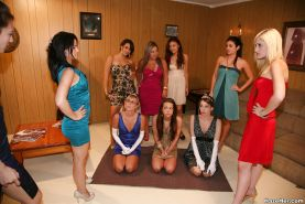 Lesbian orgy is featuring a bunch of horny ladies licking asses and pussies