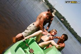 Lecherous amateur in sunglasses has a foursome groupsex outdoor
