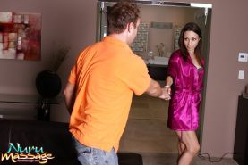 Attractive woman Amber Rayne loves massaging dicks with her mouth