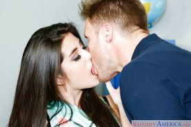 Facial cumshot of coed horny brunette Natalie Monroe and ass licking