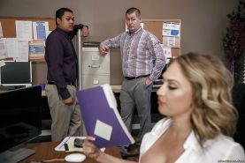 Boss lady Kagney Linn Karter revealing big tits for hardcore office fuck