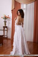 New bride Divina A stripping off wedding dress and white stockings