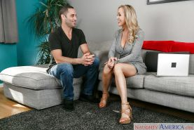 Big boobed blonde Brandi Love seduced for sex wearing high heels