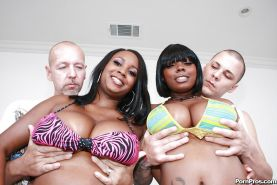Ebony MILF babes Stacy and Aline give a titjob and have hot groupsex