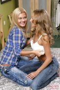 Adorable lesbian cuties with tiny tits pleasuring their wet teen twats