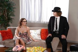Nerdy housewife Lily Love gives husband a blowjob after long day at work