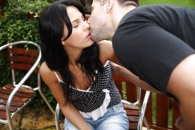 Sweet babe with tiny tits Annabella gets fucked hardcore outdoor