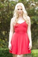Amateur teen babe Samantha Rone posing outdoors in summer dress