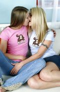 Stunning teen girls with tiny tits have some lesbian fun with strapon