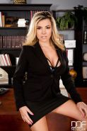 Blonde babe Danica Dillon loosing big tits and ass from lingerie in office